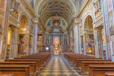 TURIN, ITALY - MARCH 14, 2017: The nave of baroque church Chiesa di San Carlo Borromeo. Editorial