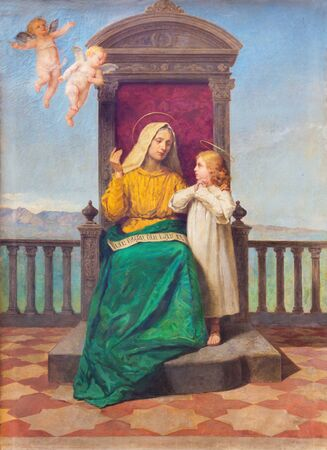 PADUA, ITALY - SEPTEMBER 9, 2014: Painting of Saint Ann and little Mary in church Santa Maria dei Servi by R. Maluta from end of 19. cent. Editöryel
