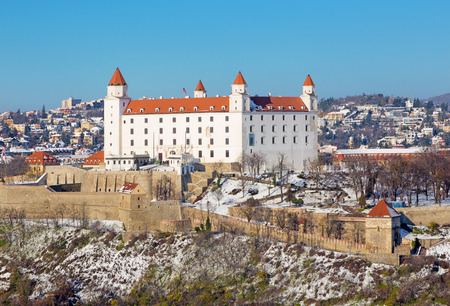 Bratislava - The castle in winter light. Banque d'images