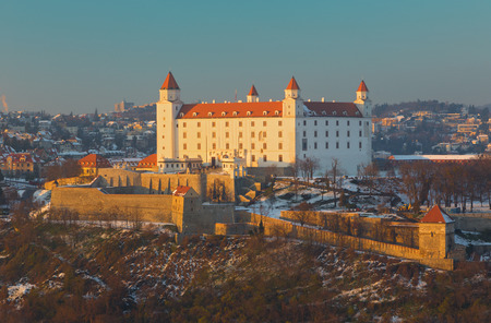 Bratislava - The castle in winter light. Editorial