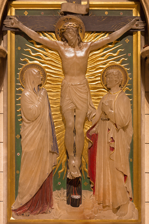 LONDON, GREAT BRITAIN - SEPTEMBER 17, 2017: The Crucifixion as the Station of the Cross in church of St. James Spanish Place carved in alabaster by Geoffrey Webb (1915).