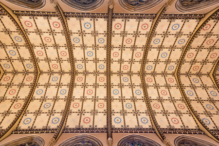 LONDON, GREAT BRITAIN - SEPTEMBER 18, 2017: The ceiling of church Immaculate Conception, Farm Street.