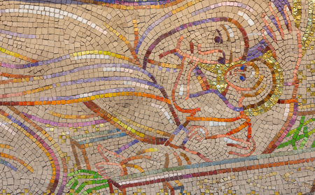 LONDON, GREAT BRITAIN - SEPTEMBER 18, 2017: The modern mosaic of Nativity in church Notre Dame de la France by Boris Anrep from year 1954.