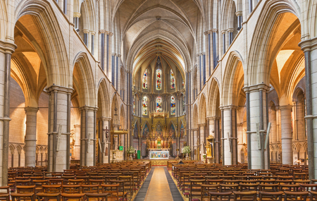LONDON, GREAT BRITAIN - SEPTEMBER 17, 2017: The nave of church of St. James Spanish Place.