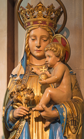 LONDON, GREAT BRITAIN - SEPTEMBER 17, 2017: The carved statue of Madonna in church St. Barnabas.