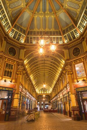 LONDON, GREAT BRITAIN - SEPTEMBER 18, 2017: The gallery of Leadenhall market at night. Editorial
