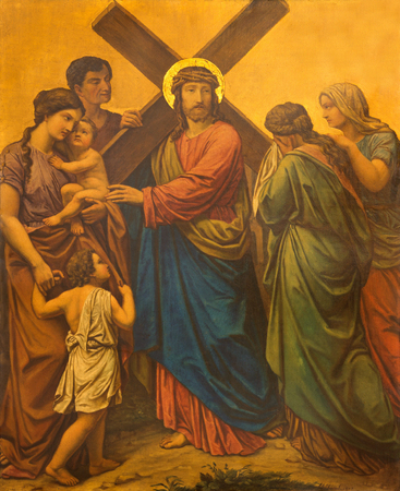 LONDON, GREAT BRITAIN - SEPTEMBER 17, 2017: The painting Jesus meets the women of Jerusalem as the Station of the Cross in church of St. James Spanish Place by M. Jacob (1873). Editorial