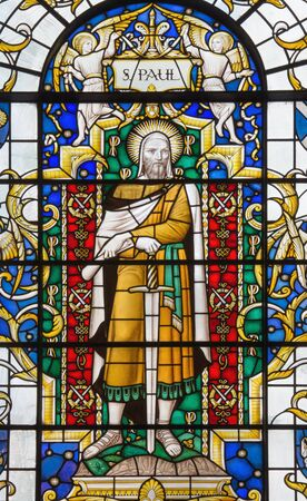 LONDON, GREAT BRITAIN - SEPTEMBER 14, 2017: The saint Paul the apostle on the stained glass in church St. Lawrence Jewry by Christopher Webb (half of 20. cent.)