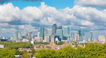 London - The sky line of Canary Wharf from Greenwich park. Stock Photo