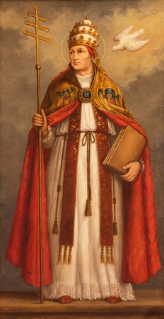 LONDON, GREAT BRITAIN - SEPTEMBER 17, 2017: The painting of pope St. Gregory the Great the doctor of west catholic church in church St. Martin, Ludgate (about 1900 by unknown Belgian artist).
