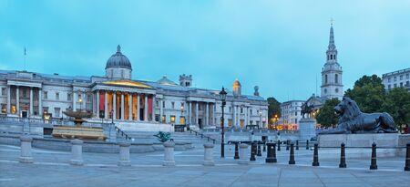 London - The panorama of Trafalgar square at dusk. Stock Photo