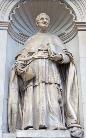 LONDON, GREAT BRITAIN - SEPTEMBER 13, 2017: The statue of cardinal John Henri Newman in fron of Brompton oratory by L. J. Chavalliaud (1858 - 1921). Editorial