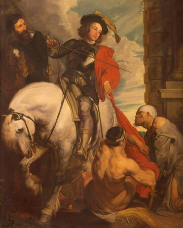 LONDON, GREAT BRITAIN - SEPTEMBER 17, 2017: The painting of St. Marin of Tours in church St. Martin, Ludgate as a copy of Van Dyck by unknown artist of 19. cent.. Reklamní fotografie - 94636124