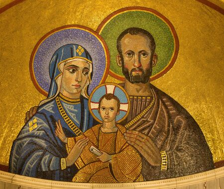 LONDON, GREAT BRITAIN - SEPTEMBER 17, 2017: The mosaic of Holy Family in Westminster cathedral designed by Christopher Hobbs (2003).