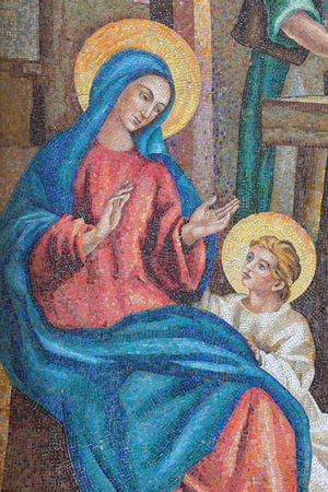 LONDON, GREAT BRITAIN - SEPTEMBER 17, 2017: The detail of Hl. Mary from  the mosaic of Holy Family in St. Peter Italian church from 20. cent.