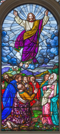 LONDON, GREAT BRITAIN - SEPTEMBER 15, 2017: The Ascension of the Lord on the satined glass of St Jamess Church, Clerkenwell Alexander Gibbs & Co (1863).