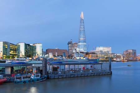 London - The panorama with the skyscrapers from the Tower bridge at dusk. Stock Photo