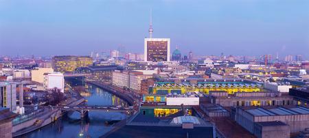 Berlin - The Panorama of Berlin in evening dusk.