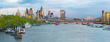 London - The evening panorama of the City with the skyscrapers in the center.