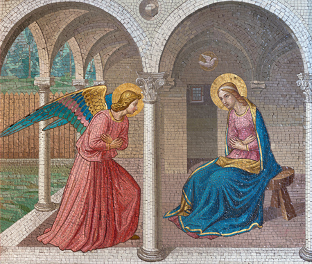 LONDON, GREAT BRITAIN - SEPTEMBER 17, 2017: The mosaic of The Annunciation after Fra Angelico in church St. Barnabas by Bodley and Garner (end of 19. cent.). Editorial