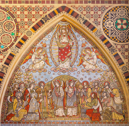 LONDON, GREAT BRITAIN - SEPTEMBER 15, 2017: The tiled mosaic of Ascension of the Lord in church All Saints by Matthew Digby Wyatt (1820 - 1877). Editorial
