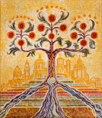 LONDON, GREAT BRITAIN - SEPTEMBER 18, 2017: The modern symbolic painting of Tree of Life and Holy City Jerusalem in church St Botolphs Aldgate by Tetis Blacker (1982).