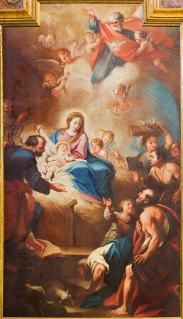 TURIN, ITALY - MARCH 13, 2017: The painting of Nativity in church Chiesa di Santa Teresia by Sebastiano Conca (1730).