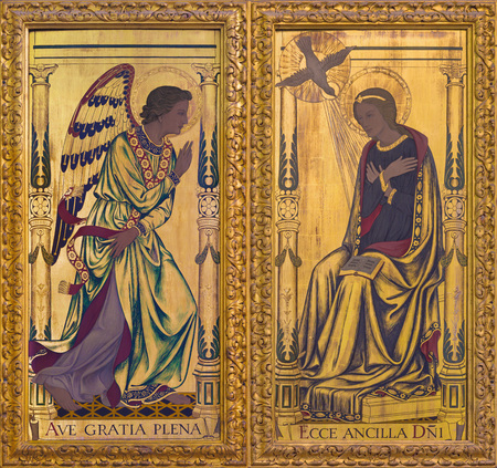 LONDON, GREAT BRITAIN - SEPTEMBER 14, 2017: The Annunciation painting on the wood  on the altar in church St Clements, Eastcheap by Ninian Comper (1933). Editorial