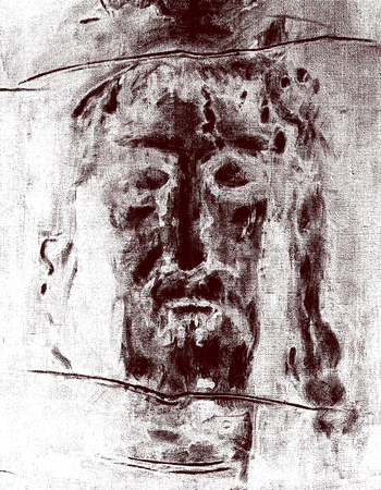 BRATISLAVA, SLOVAKIA, MARCH - 13, 2016: The Jesus Christ face inspired by glorious Shroud of Turin. Editorial