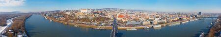 BRATISLAVA, SLOVAKIA, DECEMBER - 1, 2017:  Panoramic skyline of the City from SNP Bridge. Editorial