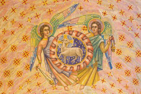 LONDON, GREAT BRITAIN - SEPTEMBER 17, 2017: The mosaic of Lamb of God and andgels in Westminster cathedral and Blessed Sacrament Chapel designed by Boris Anrep (middle 20. cent.).