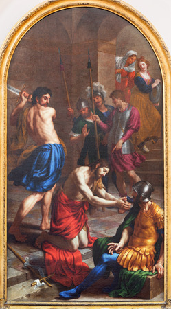 LONDON, GREAT BRITAIN - SEPTEMBER 17, 2017: The painting of Decapitation of St. John the Baptist in St. Peter Italian church by Alessandro Turchi (1640). Editorial
