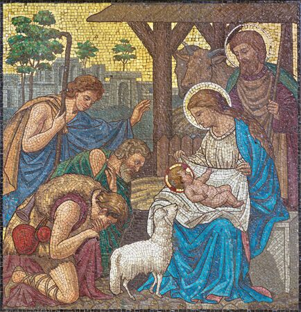 LONDON, GREAT BRITAIN - SEPTEMBER 17, 2017: The mosaic of The Adoration of Shepherds in church St. Barnabas by Bodley and Garner (end of 19. cent.). Editorial