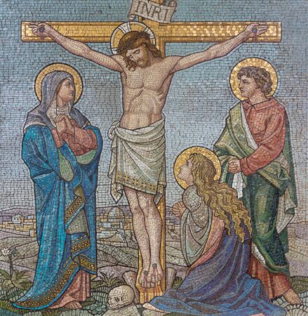 LONDON, GREAT BRITAIN - SEPTEMBER 17, 2017: The mosaic of The Crucifixion  in church St. Barnabas by Bodley and Garner (end of 19. cent.).