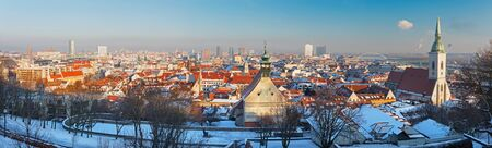 Bratislava - Panoramic skyline of the City from the Castle in evening light.