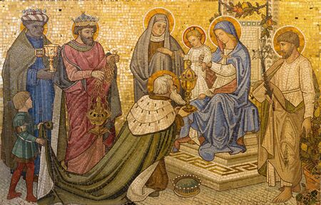 LONDON, GREAT BRITAIN - SEPTEMBER 17, 2017: The mosaic of Adoration of the Magi in church Our Lady of the Assumption form end of 19. cent. designed by Francis Bentley.