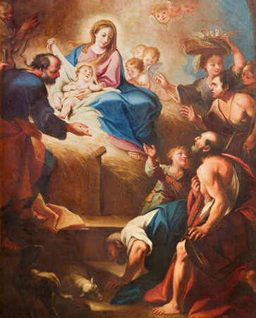 TURIN, ITALY - MARCH 13, 2017: The detail of painting of Nativity in church Chiesa di Santa Teresia by Sebastiano Conca (1730).