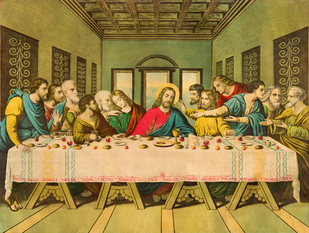 BRATISLAVA, SLOVAKIA, NOVEMBER - 11, 2017: Typical catholic image The Last Supper printed in Germany from end of 19. cent. 에디토리얼