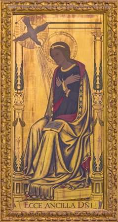 LONDON, GREAT BRITAIN - SEPTEMBER 14, 2017: The Virgin Mary as the right part of Annunciation painting on the wood  on the altar in church St Clements, Eastcheap by Ninian Comper (1933).