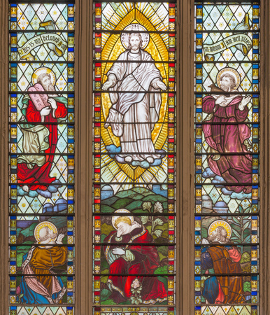LONDON, GREAT BRITAIN - SEPTEMBER 14, 2017: The Transfiguration of the Lord on the stained glass in the church St. Catharine Cree from 19. cent.