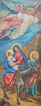 LONDON, GREAT BRITAIN - SEPTEMBER 17, 2017: The mosaic of The Flight to Egypt in St. Peter Italian church from 20. cent. Editorial