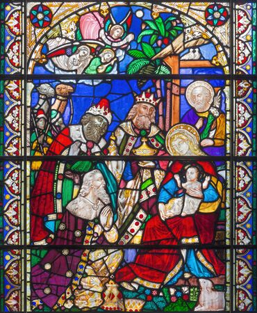 LONDON, GREAT BRITAIN - SEPTEMBER 15, 2017: The Three Magi on the satined glass of St Jamess Church, Clerkenwell.