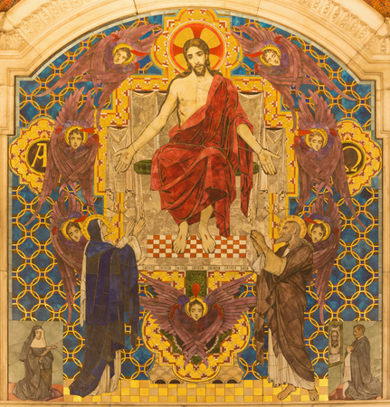 LONDON, GREAT BRITAIN - SEPTEMBER 17, 2017: The tyled mosaic of Jesus Christ the Pantokrator in Westminster cathedral designed byClayton & Bell (begin of 20. cent.).