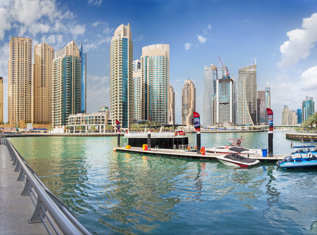 DUBAI, UAE - MARCH 24, 2017: The skyscrapers of Marina and the yachts. Editorial