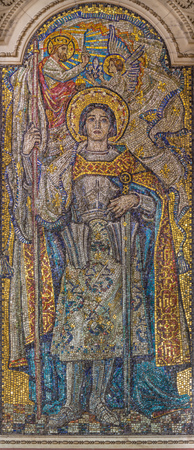 LONDON, GREAT BRITAIN - SEPTEMBER 17, 2017: Mosaic of St. Jane of Ark in Westminster cathedral and Blessed Sacrament Chapel designed by George Bridge (1910 - 1912). Editorial