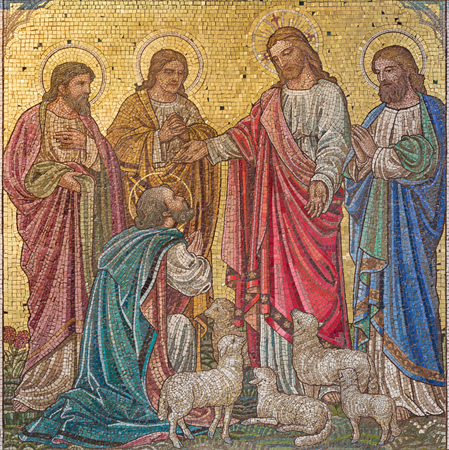 LONDON, GREAT BRITAIN - SEPTEMBER 17, 2017: The scene in the mosaic  'Feed my sheep' - Jesus give the power to St. Peter in church St. Barnabas by Bodley and Garner (end of 19. cent.).