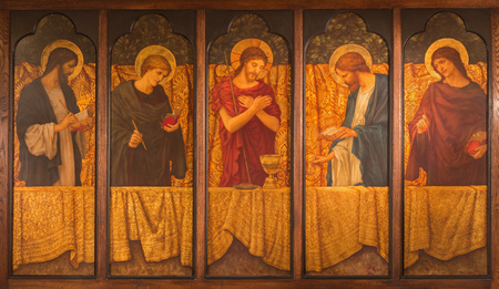 LONDON, GREAT BRITAIN - SEPTEMBER 15, 2017: The painting of Jesus with the symbols of the mass among the four Evangelist in parish room of church All Saints from 20. cent.