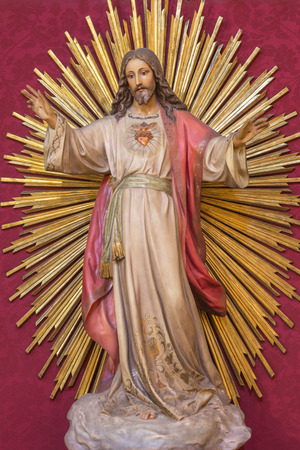 ZARAGOZA, SPAIN - MARCH 3, 2018: The statue of Heart of Jesus Christ in church Iglesia de San Miguel de los Navarros from 19. cent.