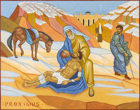 Bolonia, Italia - 18 de abril de 2018: El icono de la parábola del buen samaritano en la iglesia Chiesa di San Pietro de Giovanni Paolo Bardini. Editorial