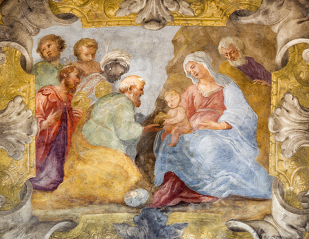 PARMA, ITALY - APRIL 15, 2018: The fresco of Adoration of Magi in the church  Chiesa di Santa Cristina by Filippo Maria Galletti (1636 - 1714).
